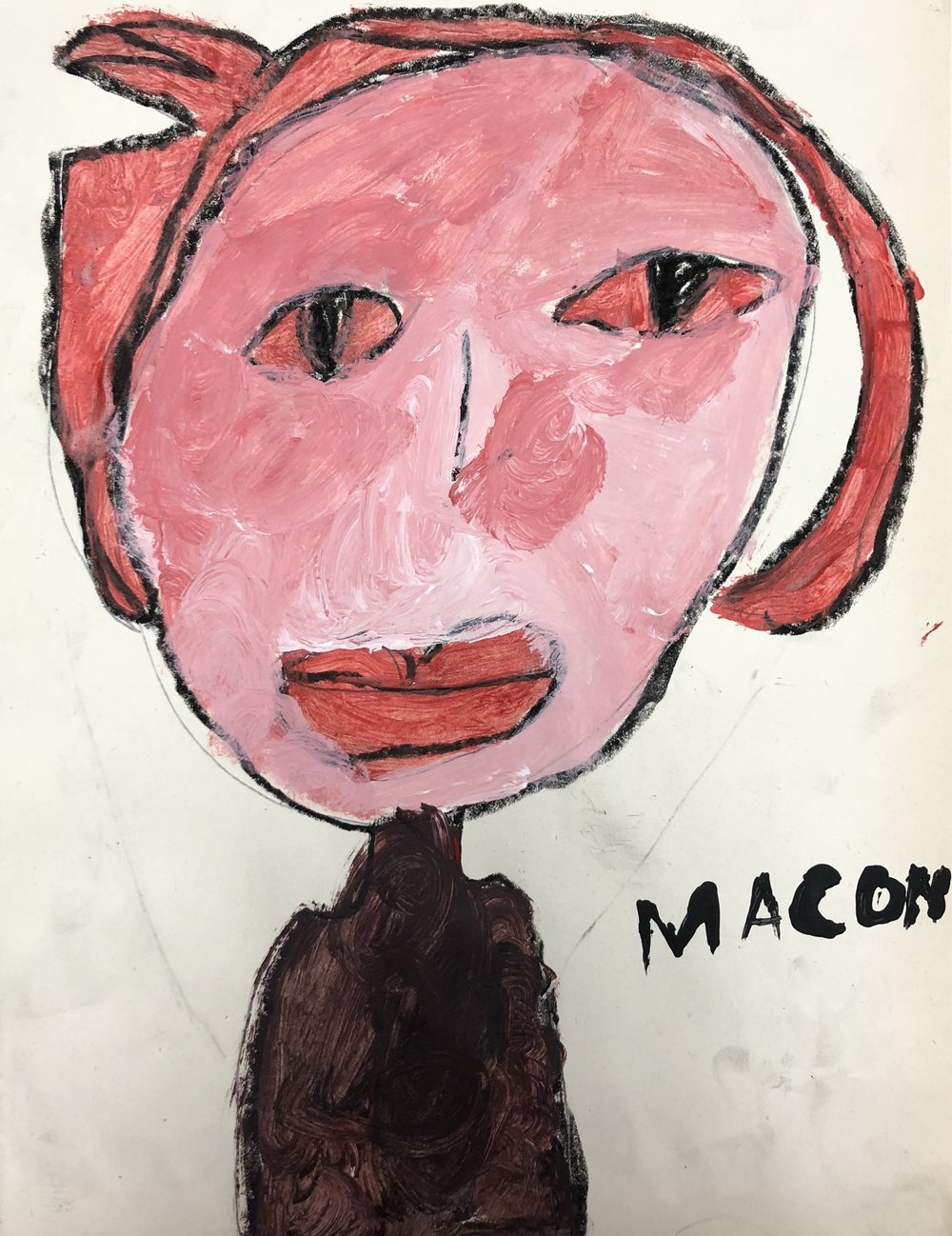 Picasso Rose/Blue Period Inspired Self-Portrait - 3rd Grade