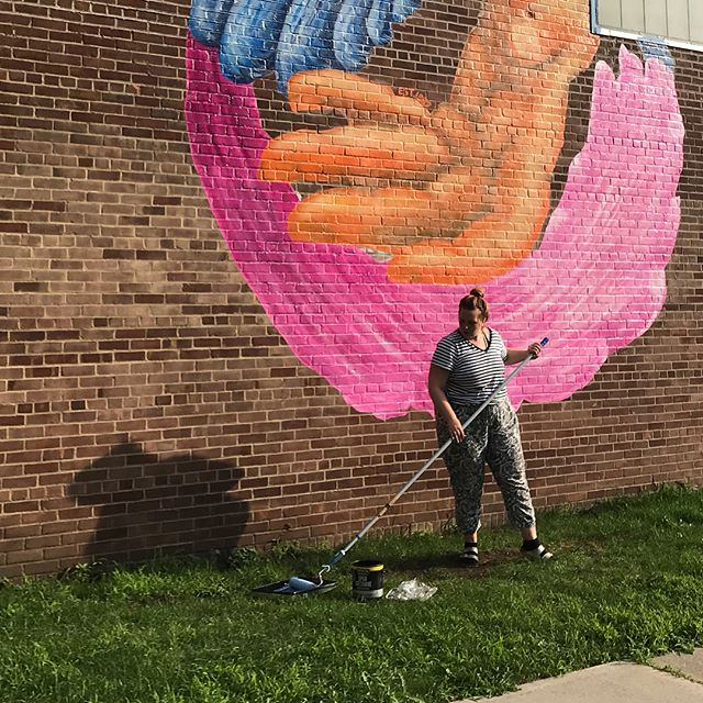 Applying the clear coat. This thing isn't coming off any time soon #streetartist #muralartist #fatartist #ywca #painter #marymilliken
