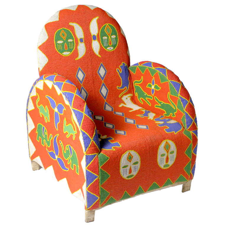 Hand-made Yoruba beaded chair featured by   The English Room