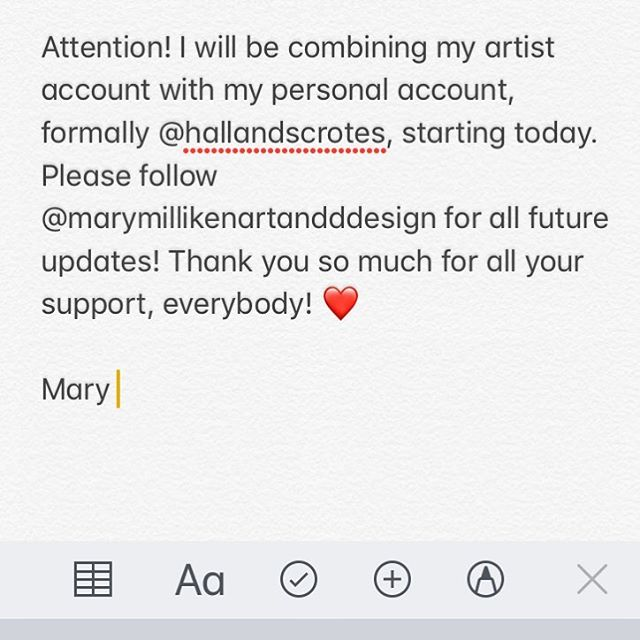 Please follow @marymillikenartanddesign for all future updates! ✌️