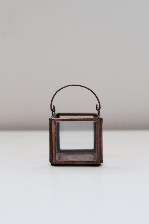 Copper Brass & Glass votive