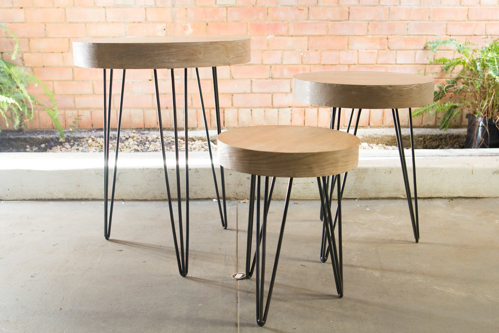 Hairpin Leg Industrial Side Table Set Avideas
