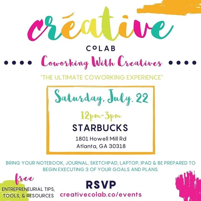 Can't wait to meet you all this Saturday so we can grind out on our goals. If you want to meet and work alongside some like minded individuals register right now! If you've been procrasting on that same goal you've been setting week after week, register right now! Need some accountability, register right now because it's only 9 spots left. RSVP at creativecolab.co/events or click the link in my bio then click Events.