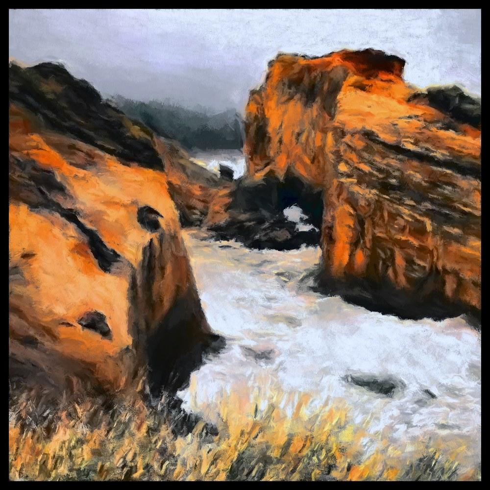 """""""Beach Cove""""11x11 Digital Original Print"""