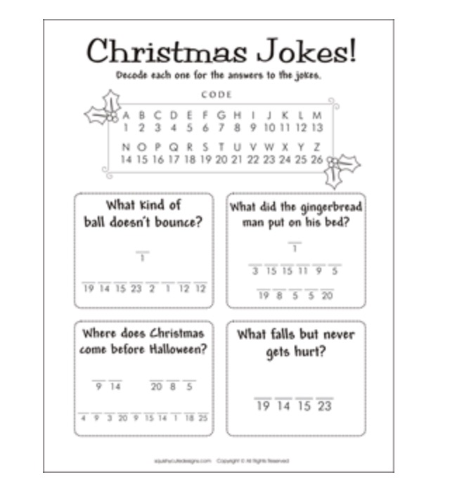 OT Activity of the Day- Holiday Printables