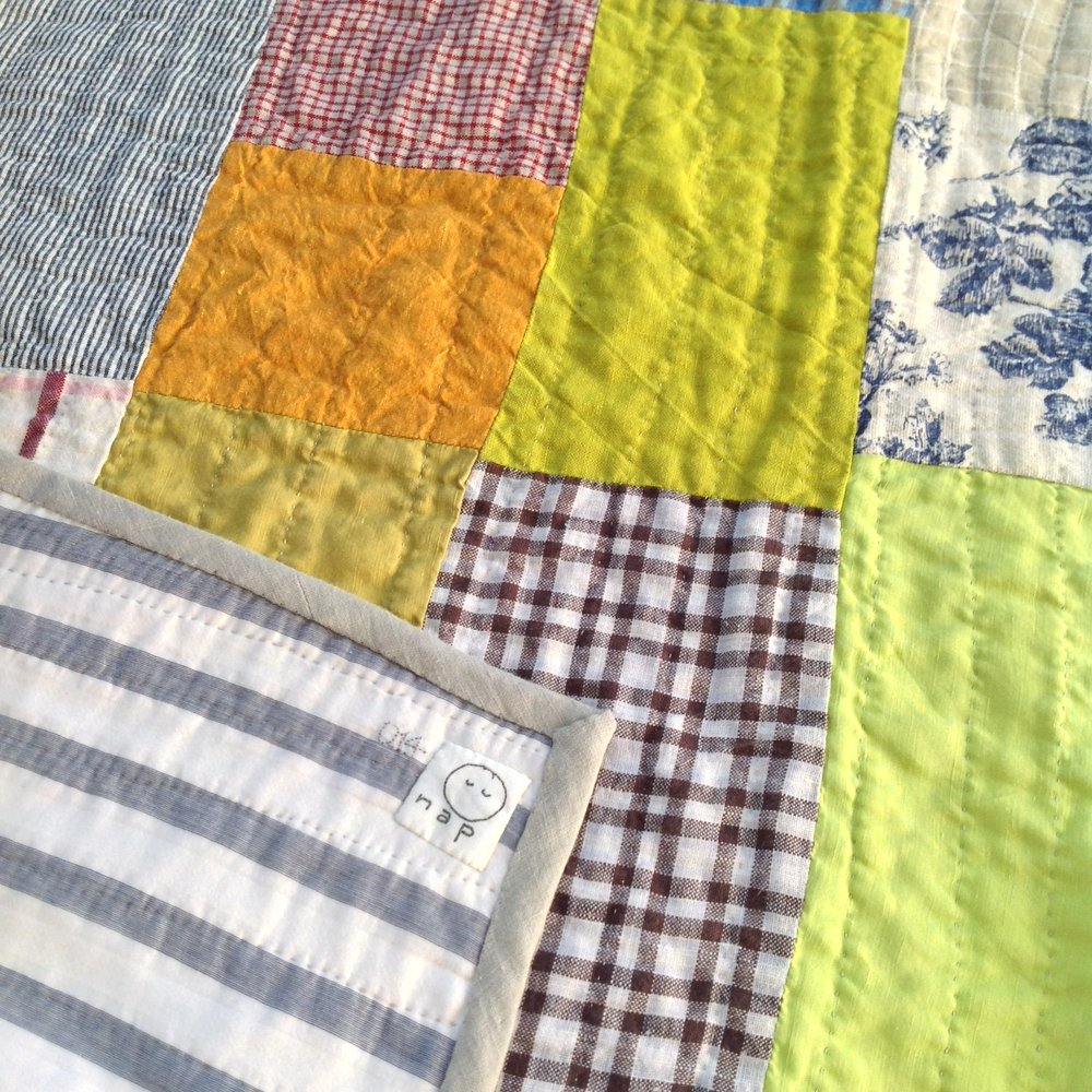 [sold]  nap quilt no. 014 reverse and detail  woven stripes silk/cotton backing with linen binding