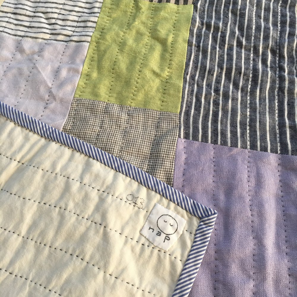 [sold]  nap quilt no. 013 reverse and detail  cotton backing with cotton binding