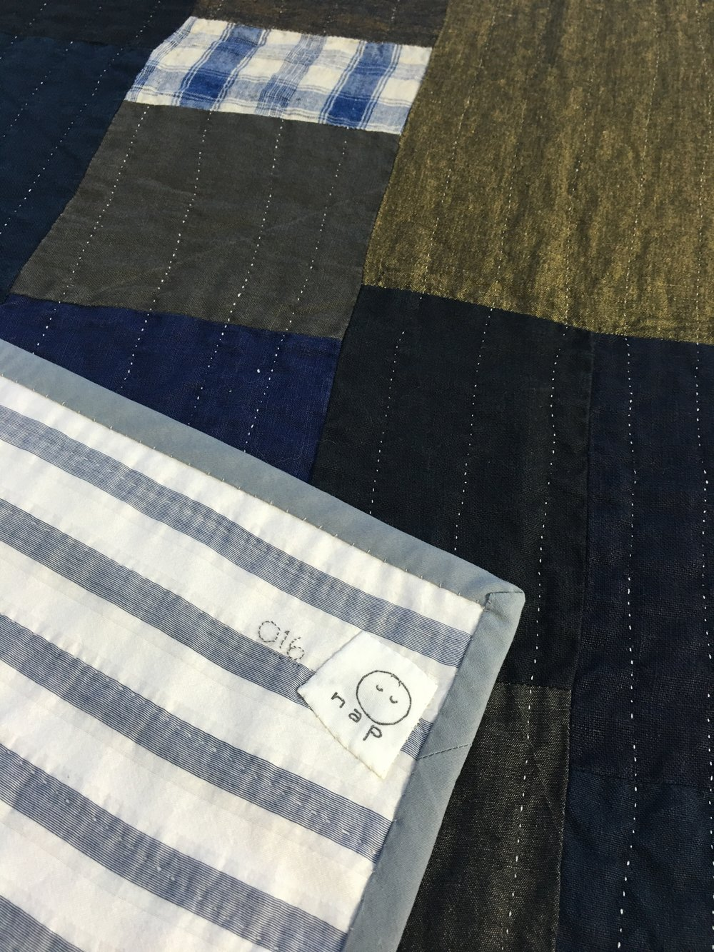 [sold]  nap quilt no. 016 reverse and detail  woven stripes silk/cotton backing with cotton binding