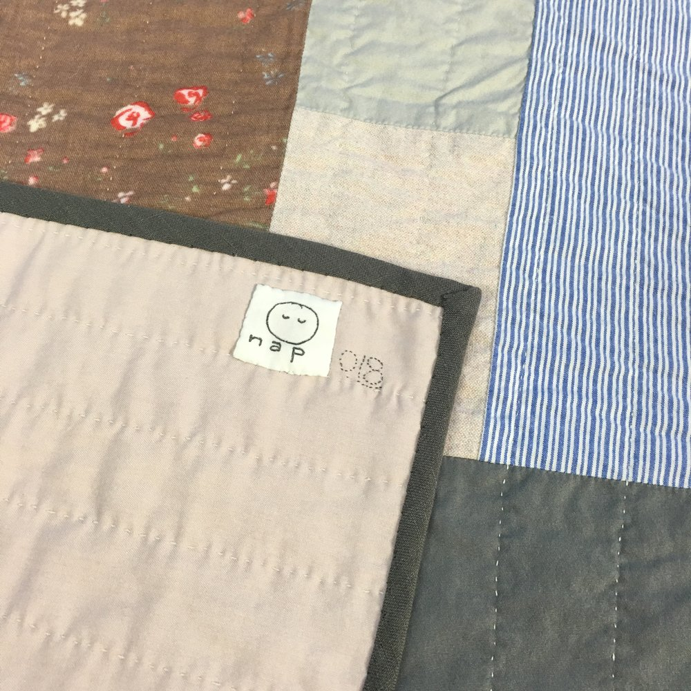 [sold]  nap quilt no. 018 reverse and detail  washed silk backing with linen binding