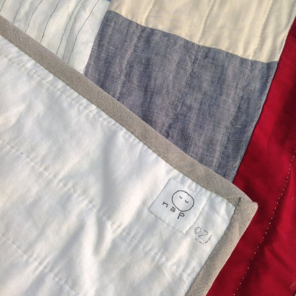 [sold]  nap quilt no. 021 reverse and detail  cotton batiste backing with linen binding