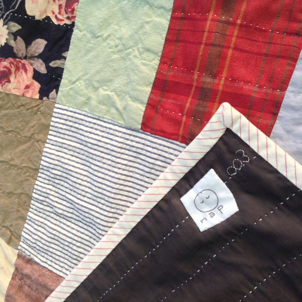 [sold]  nap quilt no. 003 reverse and detail  cotton voile backing with cotton ticking binding