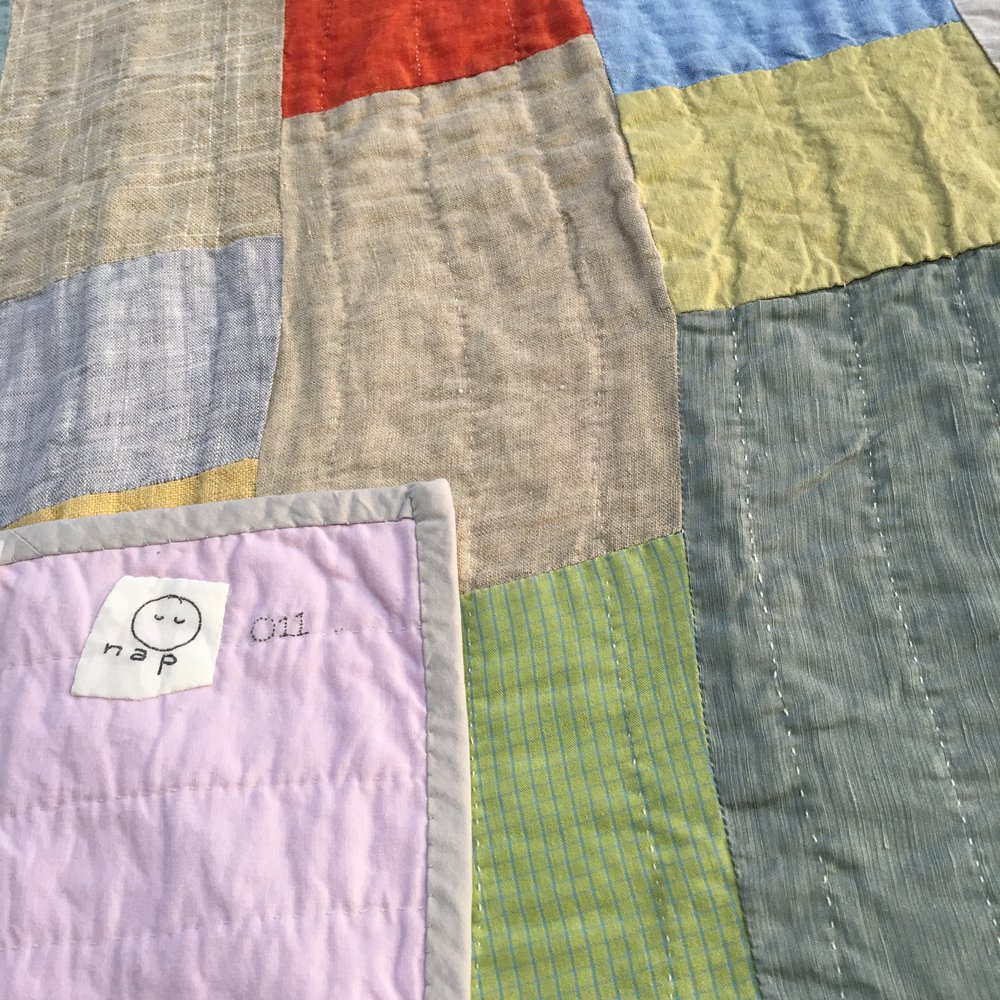 [sold]  nap quilt no. 011   reverse and detail  cotton backing with cotton binding