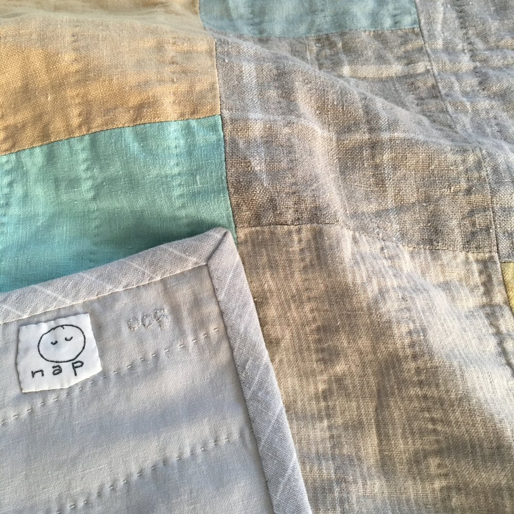 [sold]  nap quilt no. 005 reverse and detail  cotton backing with striped linen binding