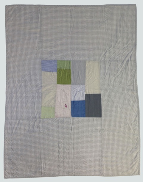 [sold]  nap quilt no. 019  mixed wovens including japanese printed nani iro double gauze cotton, surrounded by italian woven plaid  36x48in / 92x122cm