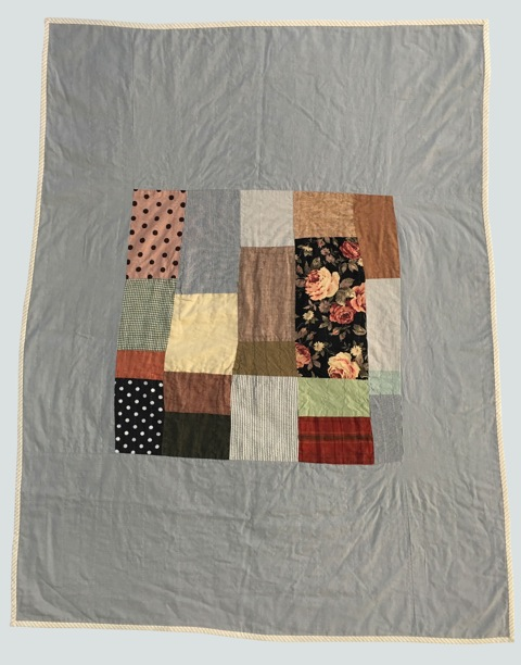 [sold]  nap quilt no. 003  mixed woven and print patches surrounded by cotton petite twill  36x48in / 92x122cm approx