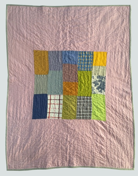 [sold]  nap quilt no. 014  mixed woven patches surrounded by cotton  36x48in / 92x122cm