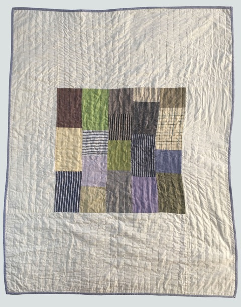 [sold]  nap quilt no. 013  mixed woven patches surrounded by cotton  36x48in / 92x122cm