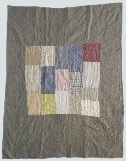 [sold]  nap quilt no. 001  mixed woven center patches surrounded by shot cotton  36x48in / 92x122cm