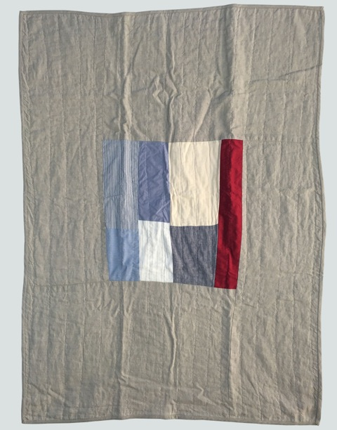 [sold]  nap quilt no. 021  mixed woven patches surrounded by natural linen  36x48in / 92x122cm