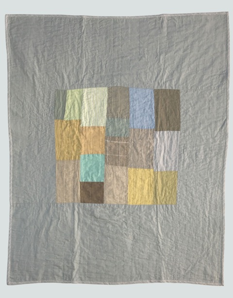 [sold]  nap quilt no. 005  center of mixed woven patches surrounded by cotton  36x48in / 92x122cm