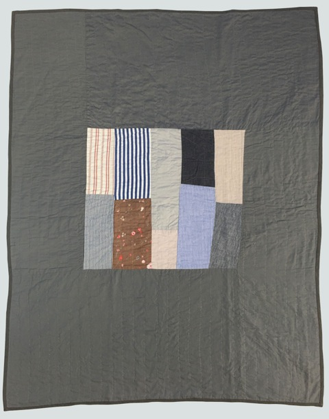 [sold]  nap quilt no. 018  woven patches including a japanese printed nani iro double gauze cotton, surrounded by cotton  36x48in / 92x122cm