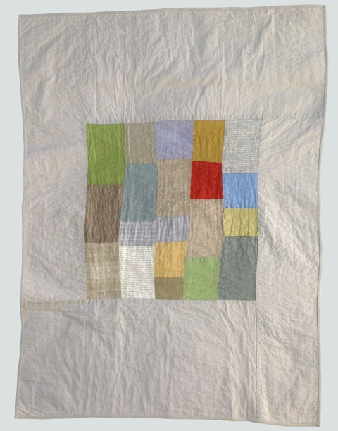 [sold]  nap quilt no. 011  mixed woven patched center surrounded by cotton