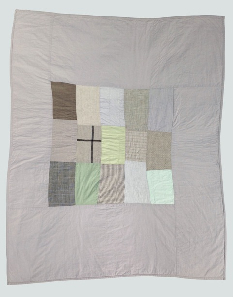 [sold]  nap quilt no. 009  center of mixed woven patches surrounded by cotton  36x48in / 92x122cm