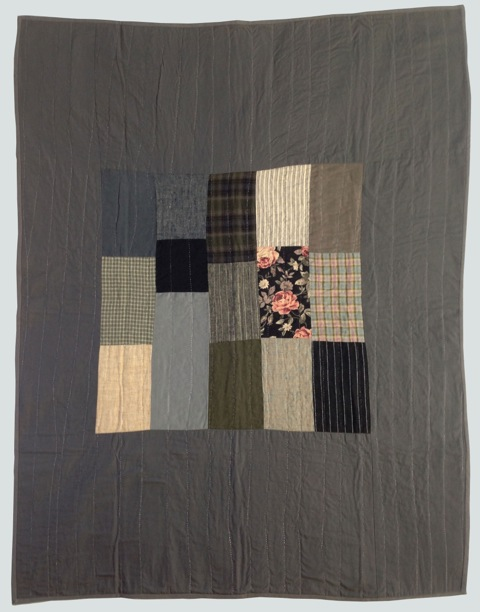 [sold]  nap quilt no. 008  center of mixed wovens and prints surrounded by cotton  36x48in / 92x122cm