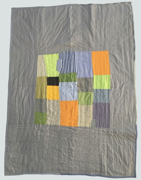 [sold]  nap quilt no. 004  center of mixed woven patches surrounded by cotton  36x48in / 92x122cm