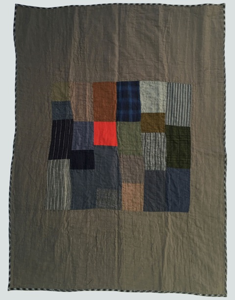 [sold]  nap quilt no. 012  center of woven patches surrounded by linen (note: the delirious red patch is a bit more subdued compared to image)  36x48in / 92x122cm