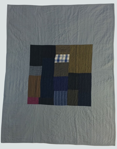 [sold]  nap quilt no. 016  mixed woven patches surrounded by cotton  36x48in / 92x122cm