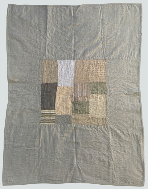[sold]  nap quilt no. 017  mixed woven patches surrounded by cotton  36x48in / 92x122cm