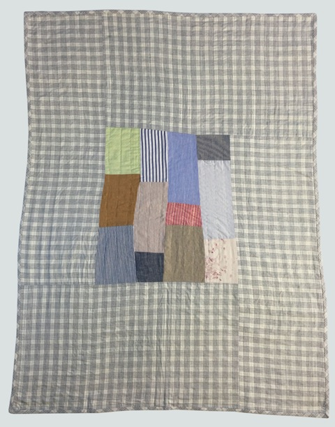 nap quilt no. 020  mixed wovens including japanese printed nani iro double gauze cotton, surrounded by lightweight flannel plaid cotton  36x48in / 92x122cm