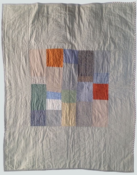 [sold]  nap quilt no. 007  mixed woven center patches surrounded by shot cotton  36x48in / 92x122cm