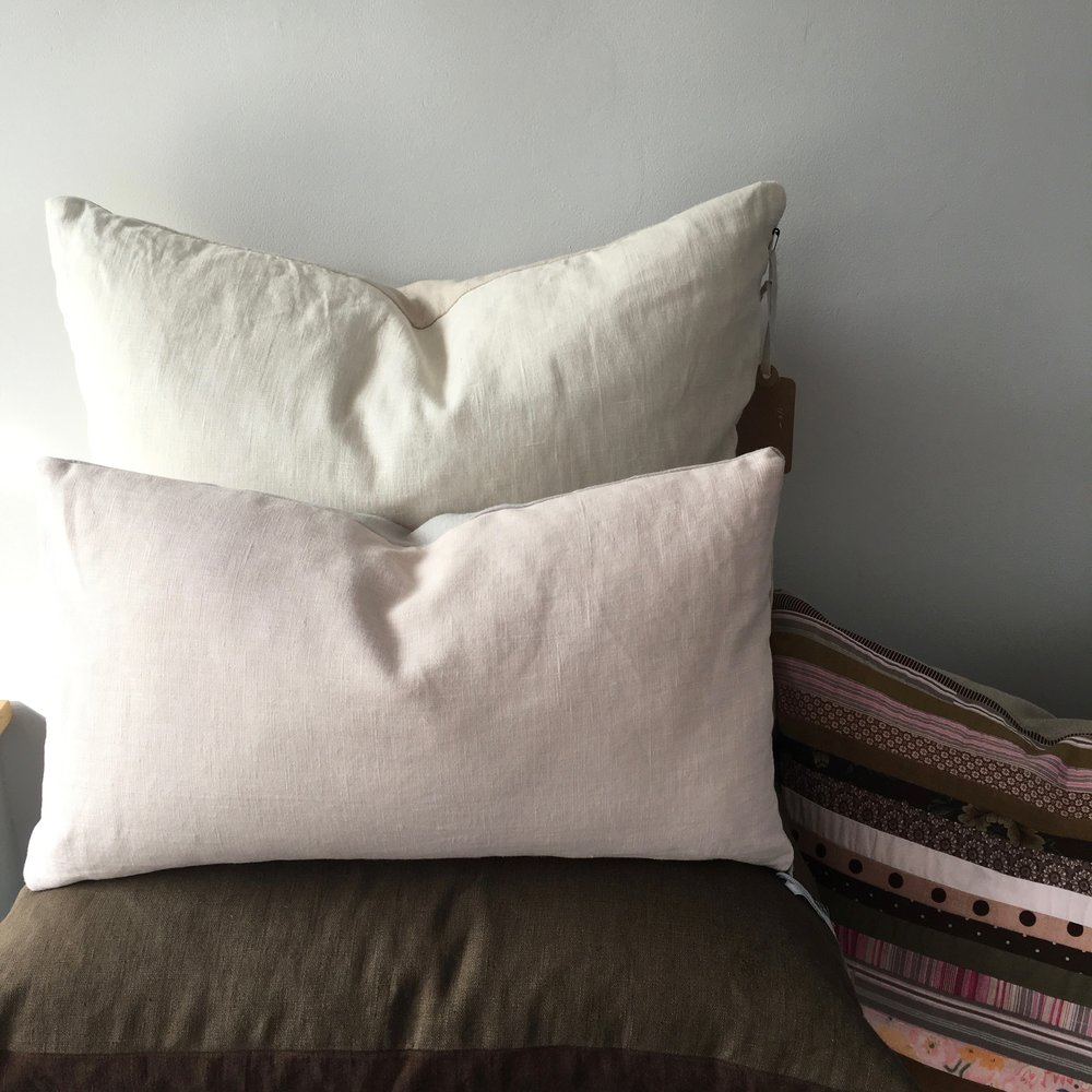 july pillow group, available at the gallery, featuring three new two-tone linen pillows plus a signature nap strip-pieced pillow