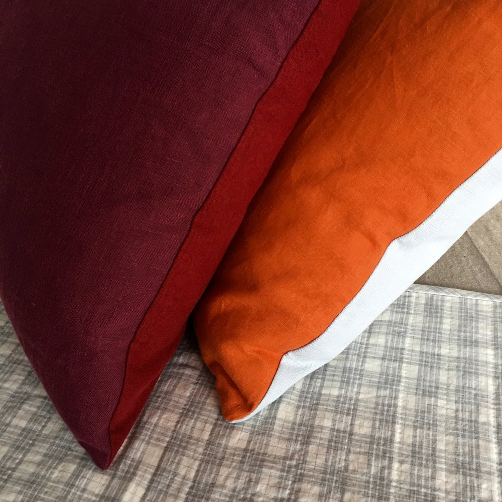 october pillows in autumnal colors... think beets, apples, late berries and grapes.... and the great pumpkin, with sweet sky blue on the reverse