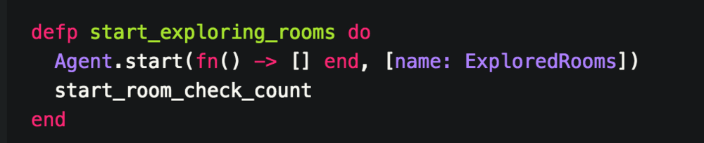 - We start an agent with a function that yields an empty list. We also name the agent ExploredRooms so that it is easier to reference later.  -  start_room_check_count  is our room counter that will count the number of rooms our system checked before it found our item.