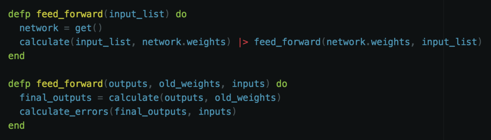 The first feed forward just takes the input list and calculates the output for the connection of the input layer with the hidden layer. That result is then passed on to the second version of the feed forward function.  The second feed forward function takes in the output of the previous layer, along with the old weights of the previous layer, and the original inputs. The final output is then calculated. This brings us to the end of our entire network. Once here we can see how well we performed by calculating the errors in the network.