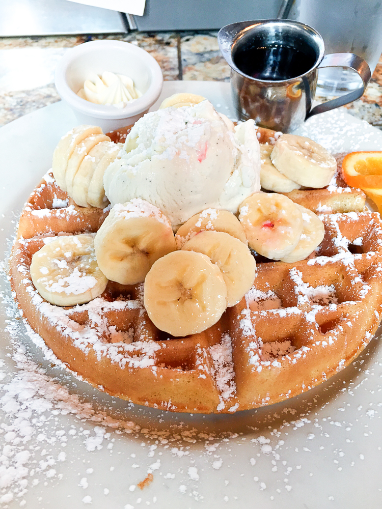 Mother's Bistro & Bar - Banana Waffle with Vanilla Ice Cream