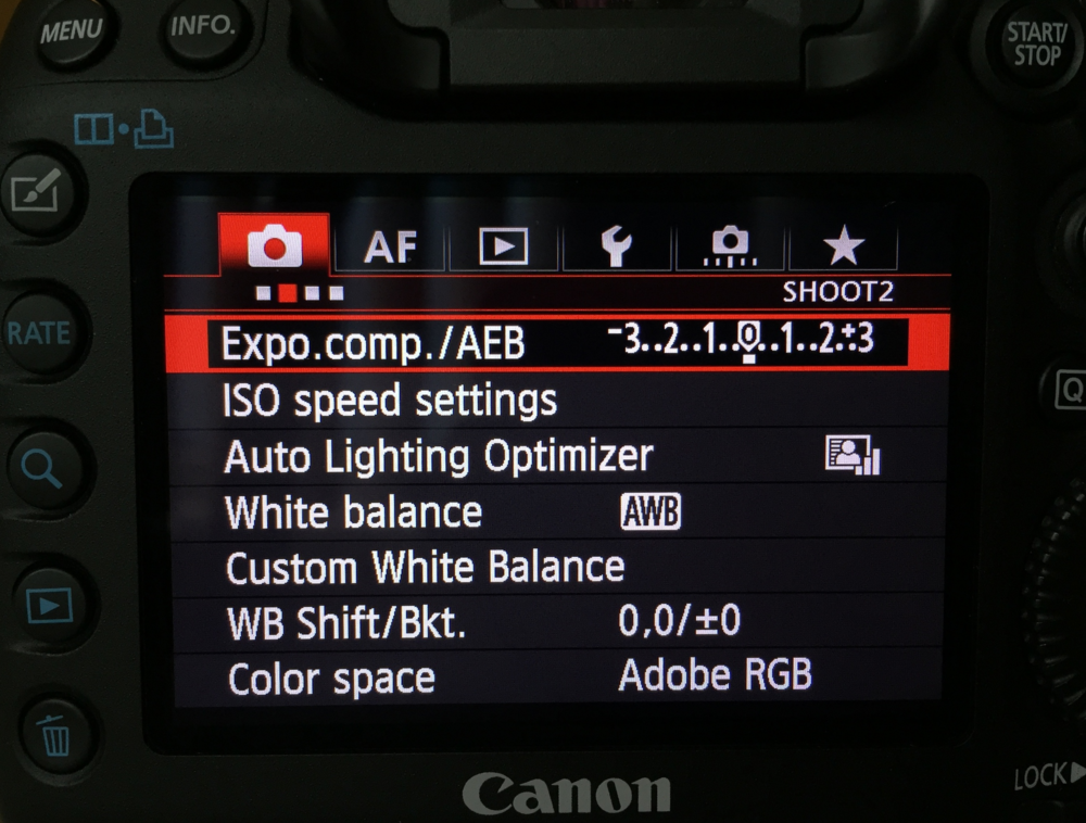 "Find ""Expo.comp/AEB"" in your camera settings"