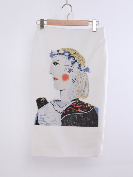 White Sheath Casual Printed Midi Skirt  $92.00