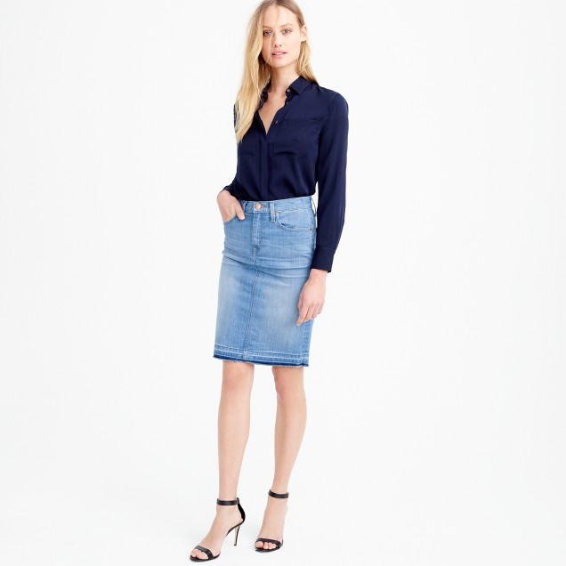 JCREW Frayed Denim Pencil Skirt