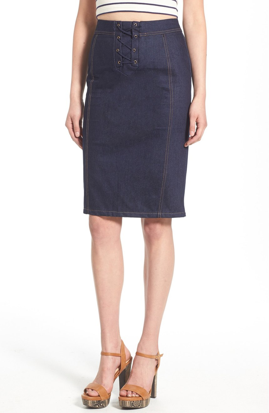 J.O.A. Lace-Up Denim Skirt