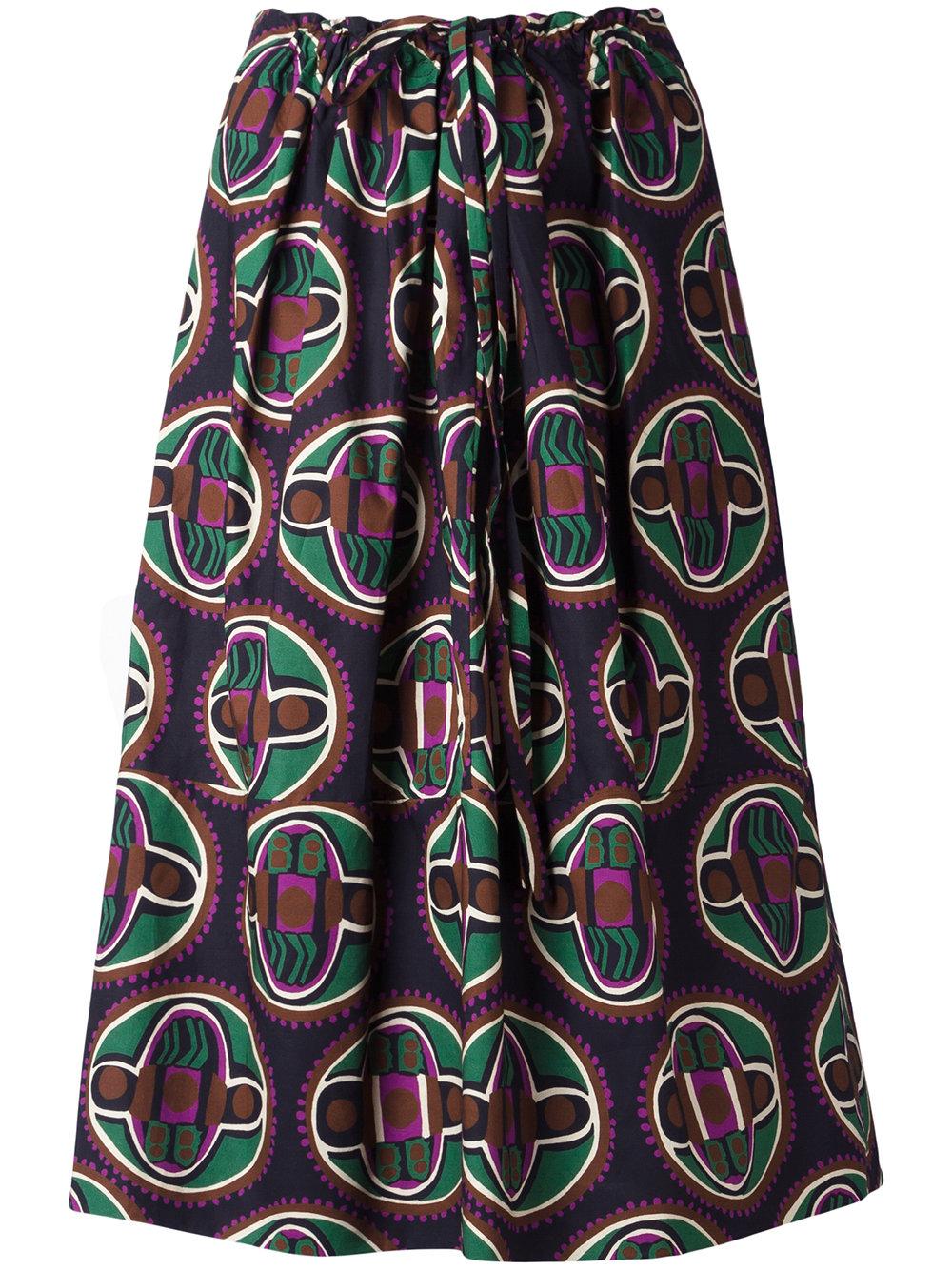 $346 - Aspesi Geometric Print Drawstring Skirt