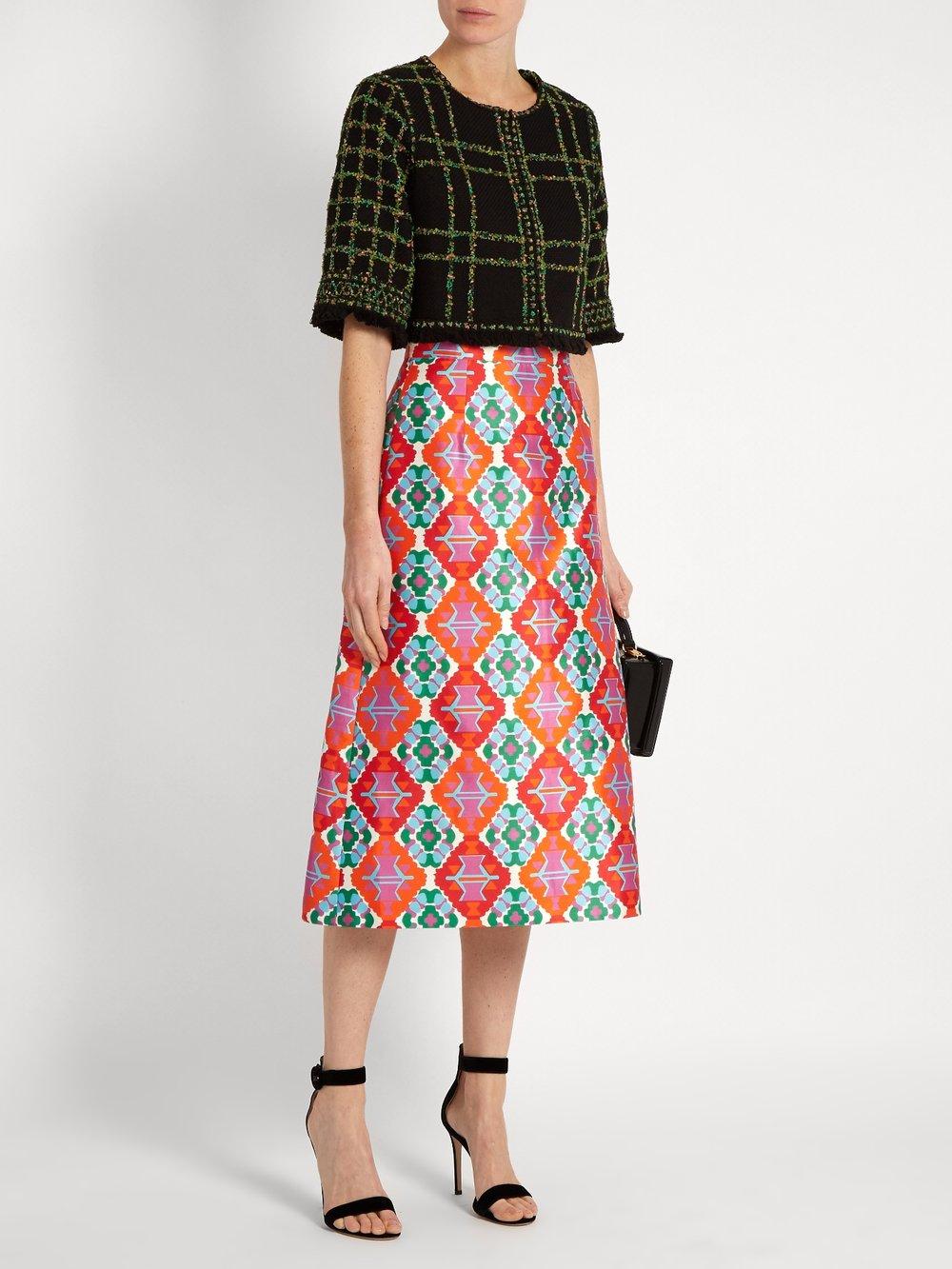 $518 - Geometric-print sateen midi skirt