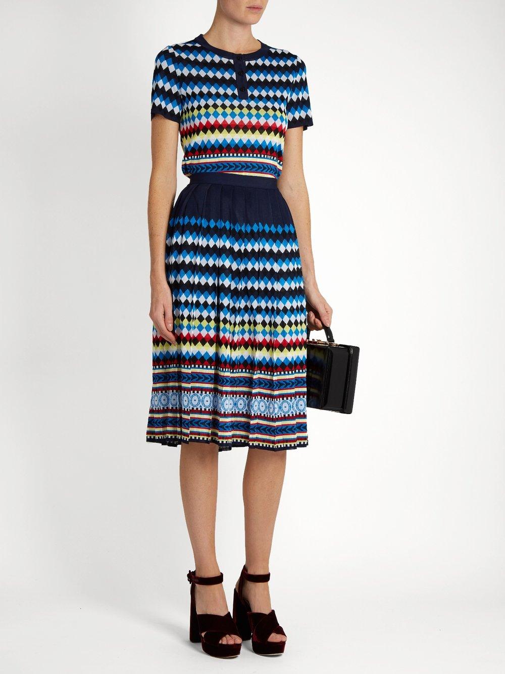 $562 - Aura Eirene-jacquard pleated skirt