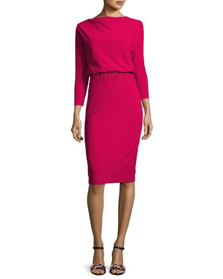 $297 - Badly Mischka Crepe Blouson Dress