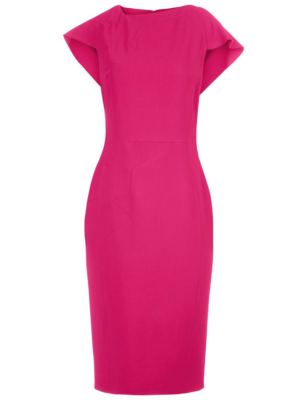 Antonio Berardi - Raspberry Cape Sleeve Midi Dress
