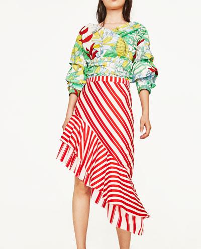 $69.90 - Zara Striped Skirt with Frill