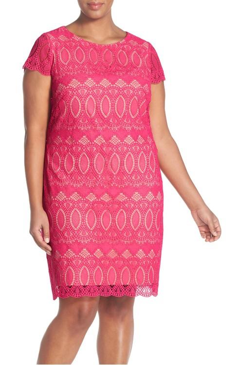 $158 Eliza J Cap Sleeve Lace Shift Dress